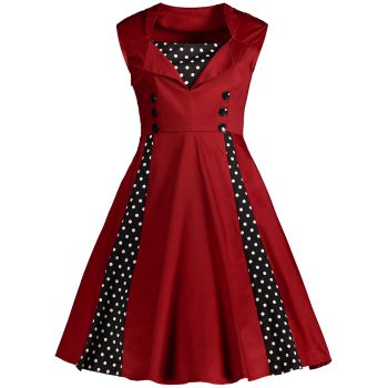 Midi Polka Dot Prom Dress - 4XL 4XL