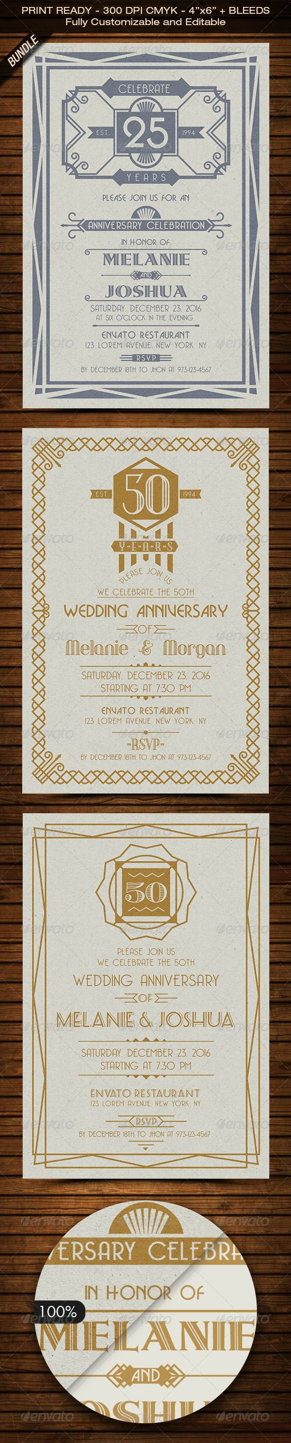 Art Deco Wedding Anniversary Invitation Bundle
