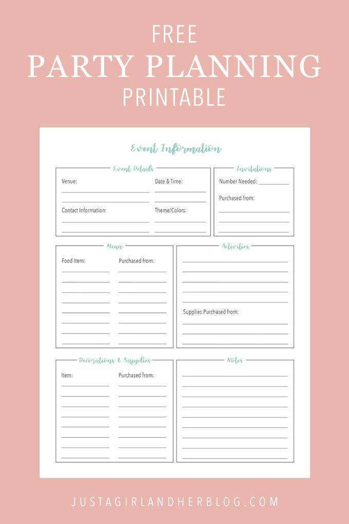 Party Planning: Organized (with FREE Printables!)