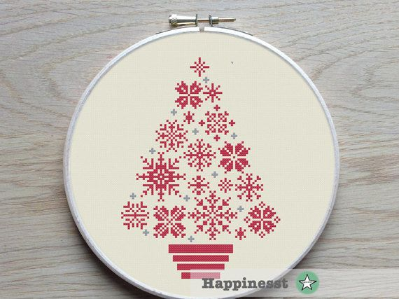 cross stitch christmas tree snowflakes modern cross by Happinesst