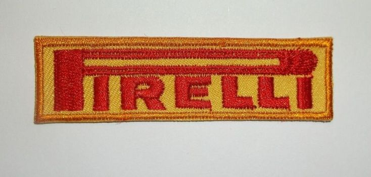 "Pirelli Tires Patch~Italian Car Auto Racing~7/8"" x 3""~Embroidered~Iron Sew On  #Pirelli"