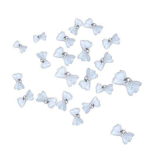 ACE 20 Pcs White Acrylic Big Bow Tie Nail Art Beauty DIY Decorations * Find out more about the great product at the image link.