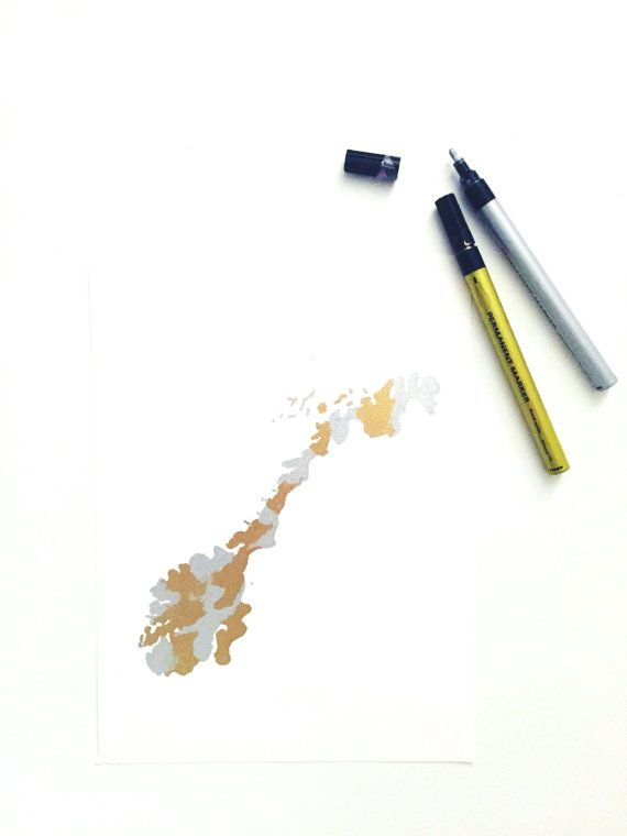 Handmade Gold/Silver Foil Look Norway Map Painting by Colortastico