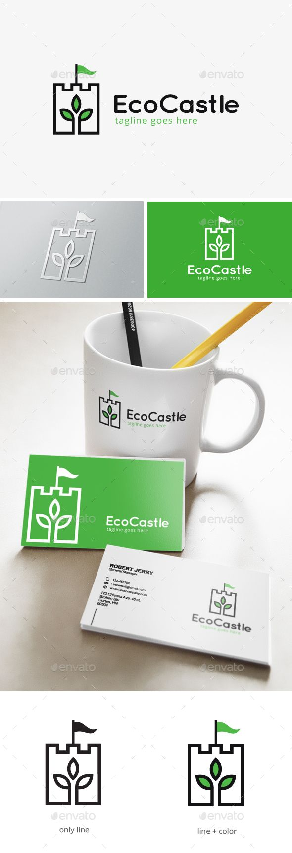 Green Castle Logo by dreamstudio29 This logo is great for farm, agriculture, plant store, agent, store, service, mobile app or any other businessDescription:- Link