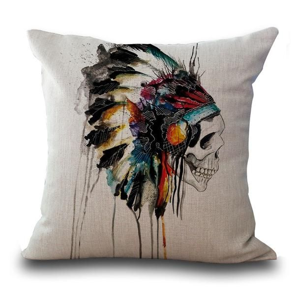 - Be tough and colorful at the same time with INDIAN SKULL PILLOW! - Creates cool and artistic vibe in your place! - The paint dripping effect makes the pillow more unique. MORE INFO: Dimensions: 45cm