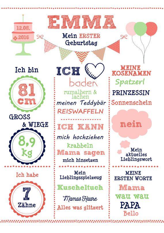 Kunstdruck 'Mein 1.Geburtstag' Mädchen DIN A4 von wandzucker