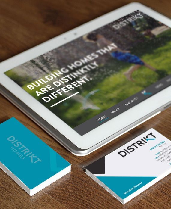 Distrikt Homes logo design, responsive website, stationery, business card design. #developer #homebuilder #distinktlydifferent #newhomeconstruction #showhomes #residential #realestate #LowerMainland #company Branding and web design by #Studiothink / Vancouver, BC #SurreyBC #branding #design #stationery #brochure #website #webdesign #creative #agency