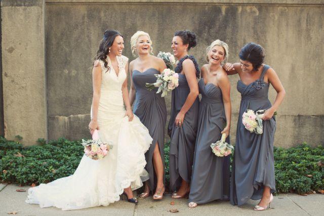 Bill Levkoff dresses in pewter http://lifealawife.com/2013/01/11/wedding-recap-bridesmaids-flower-girls/