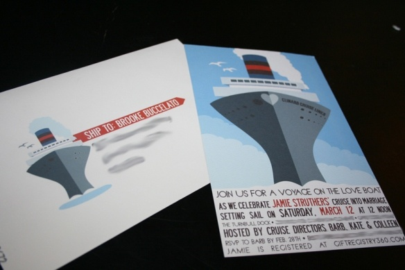 Cruise boat theme invitations - remember to show Kendra - maybe for reception directions ???