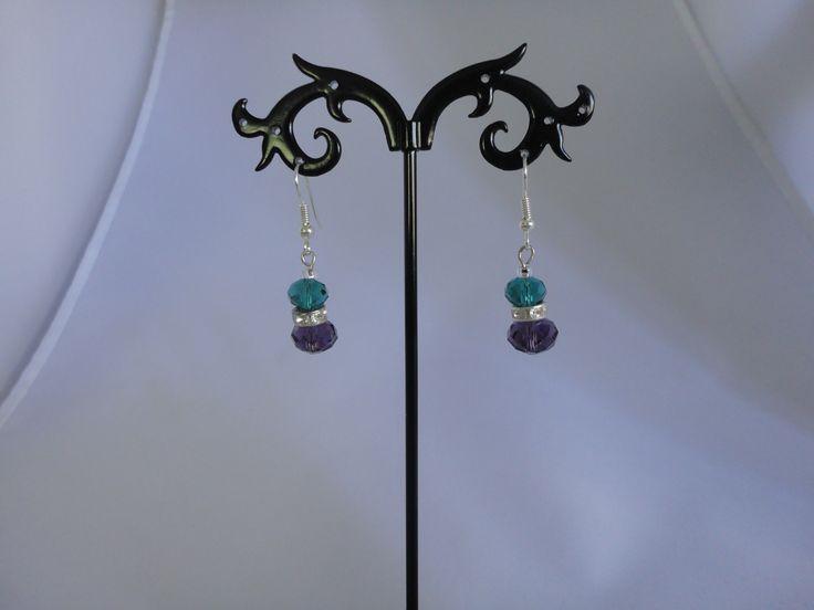 Blue and purple flower crystal earrings