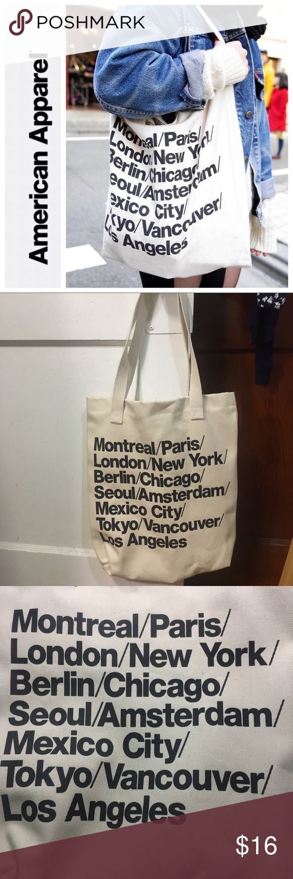 🆕CLASSIC AMERICAN APPAREL TOTE🆕 NEW WITH TAG‼️ The classic & infamous American Apparel tote bags are no longer being made nor sold. These bags are very spacious, versatile, and fashionable! Commonly found on Tumblr, grab yours today while you can! THIS BAG HAS 2 STRAPS! PRICE IS FIRM. American Apparel Bags Totes