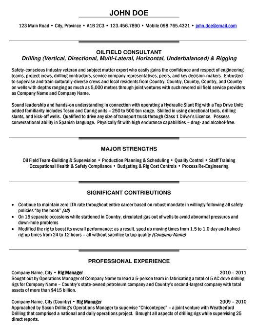 rig manager resume sample