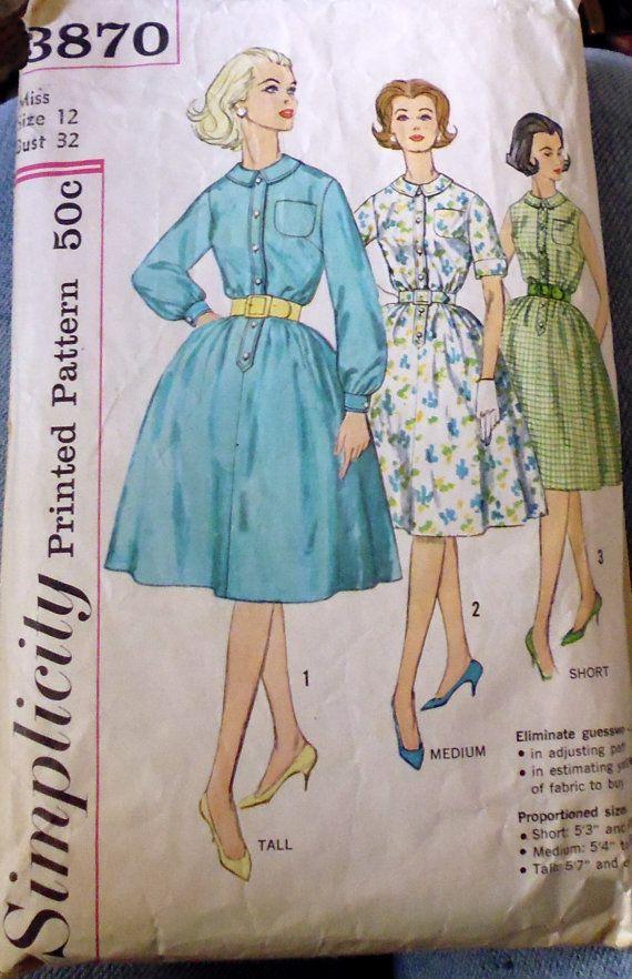 Simplicity 3870 full skirt dress, bust 32 dress, belted dress pattern, button front dress, shirtwaist dress, petite dress pattern
