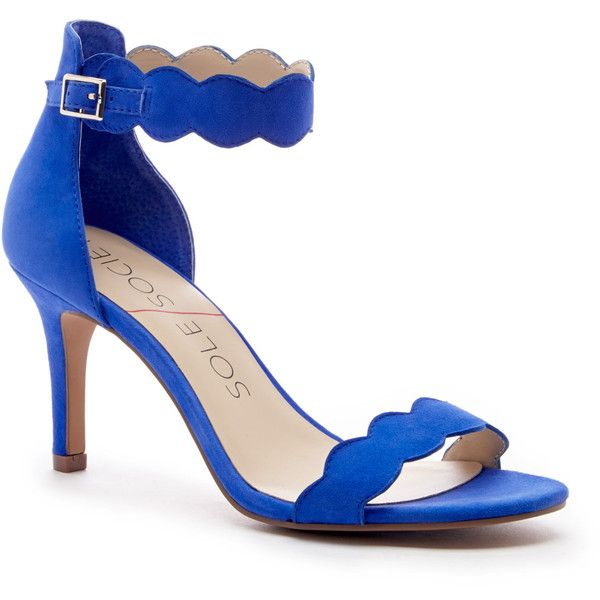 Sole Society Pia Mid Heel Sandal ($75) ❤ liked on Polyvore featuring shoes, sandals, heels, royal blue, royal blue suede shoes, ankle strap sandals, sole society, sole society shoes and ankle strap high heel sandals