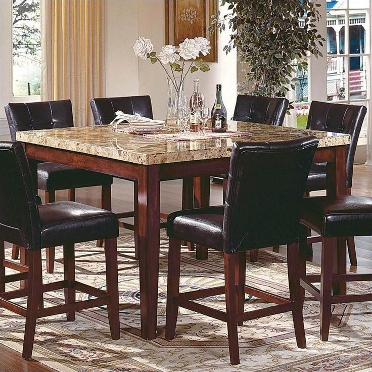 Lowest Price Online On All Steve Silver Company Montibello Counter Height Marble Dining Table Mn5454pt