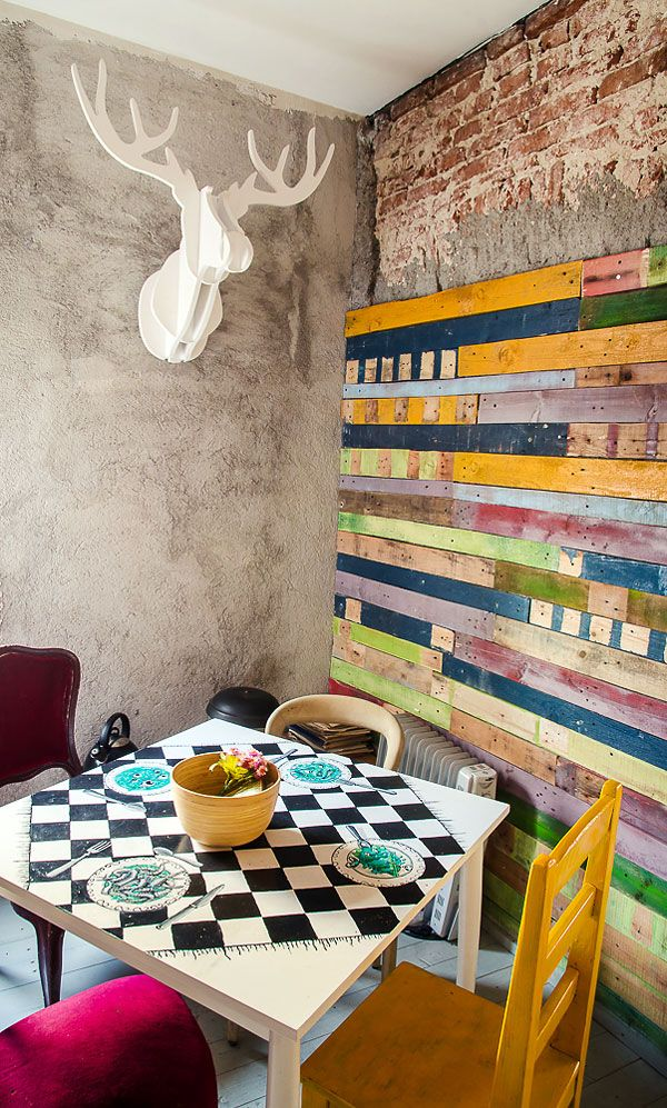 #Upcycled Interior Reclaimed Wood Wall Acuarela, Bucharest