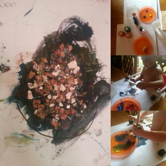 Egg craft fun for 1-2 year old ( please use a baby safe paint and glue,  the stuff is more in the mouth than on the paper.