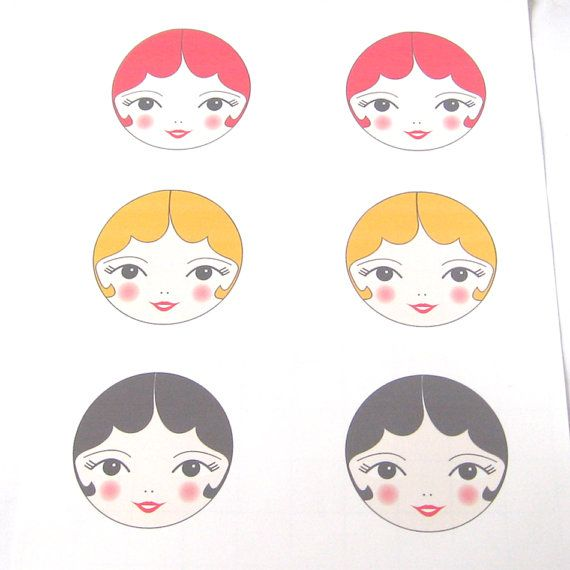 PDF Printable Art Doll Face Transfers iron on by zouzoudesign