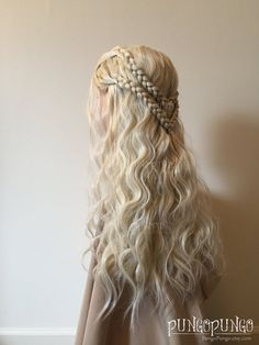 Costume Wig with Long Blonde Hair Braids Game of by PungoPungo
