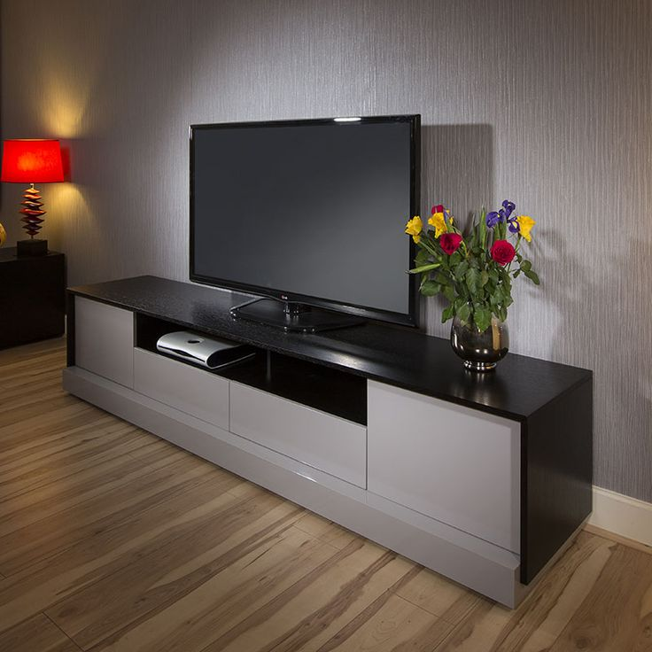 Black and Grey Entertainment Unit with storage.