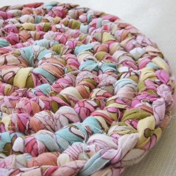 Table Coaster Rug Upcycled Bedsheet Retro by sosorosey on Etsy, $16.00