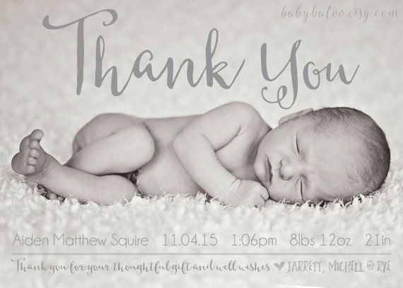 Thank you for stopping by! This adorable thank you/ announcement card is completely customizable for a BOY or a GIRL.    *** I design it *** You print it***    ITS SUPER EASY TO ORDER:  1. Purchase this listing. 2. Very soon after your order is placed I will email you. Then you email me your customization information, your super awesome photos and any special requests you might have.  3. I will email you a proof within 1-3 business days. If changes need to be made, Im here to do them for…