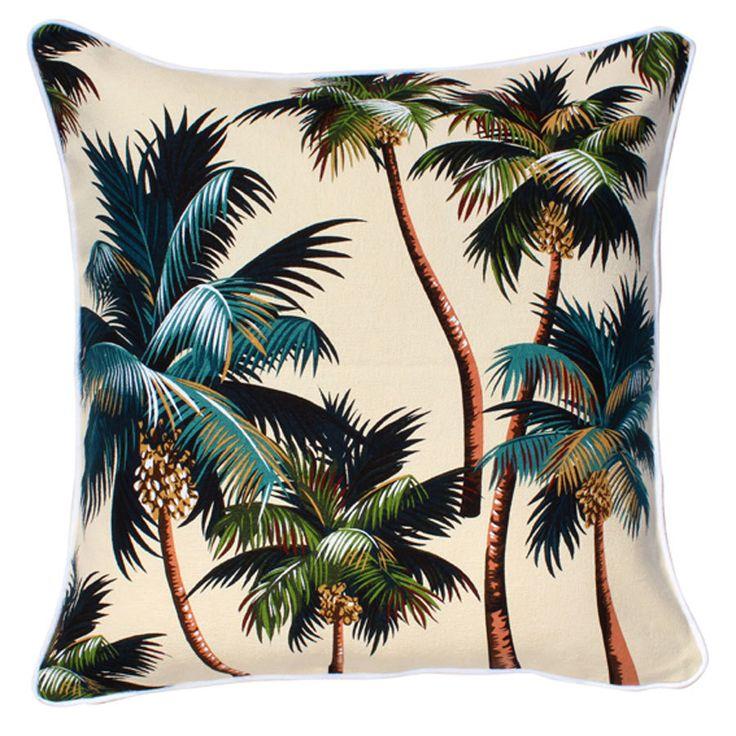 Palm tree print cushion - a must for every living area   Key piece   Interior design   #laraandtara