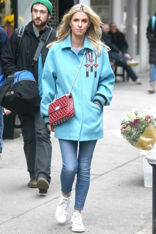 Nicky Hilton wearing Adidas Stan Smith Sneakers, Valentino Wool Lipstick Jacket in Blue and Valentino Rockstud Spike Medium Leather Shoulder Bag