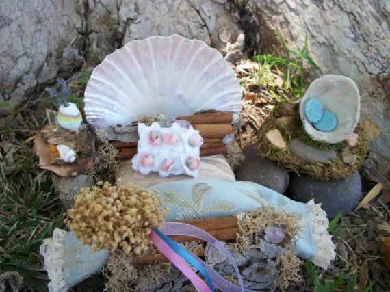 Fairy House and Fairy Furniture Handmade Coastal by TwoCrazyHearts, $225.00