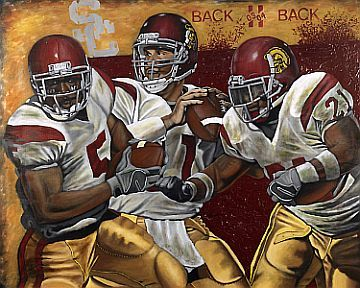 "USC Back to Back - ""The USC Trojans football team won Back 2 Back National Championships in 2003 and 2004. Superstars Matt Leinart, Reggie Bush and LenDale White lead one of he great accomplishments of all time as USC won an amazing 34 games in a row! This exclusive MVP Galleries collectible is a must have for a special USC fan and sports collector"". #rothzroom"