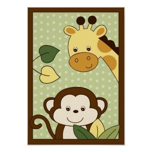 Impressão da arte da parede do berçário do macaco e girafa