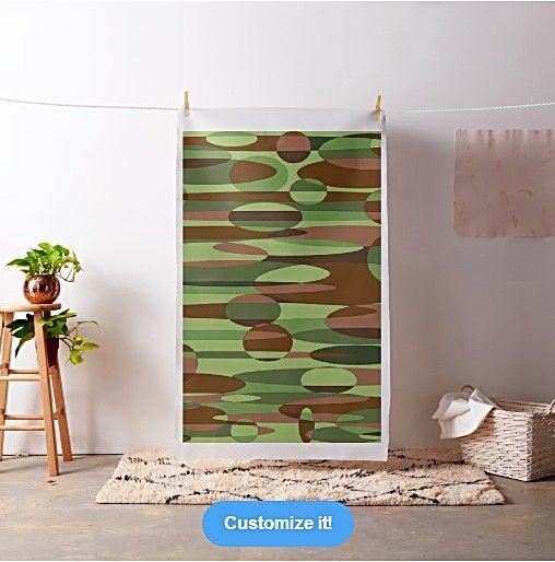 Trendy green and brown camouflage spheres fabric pattern by khoncepts.com