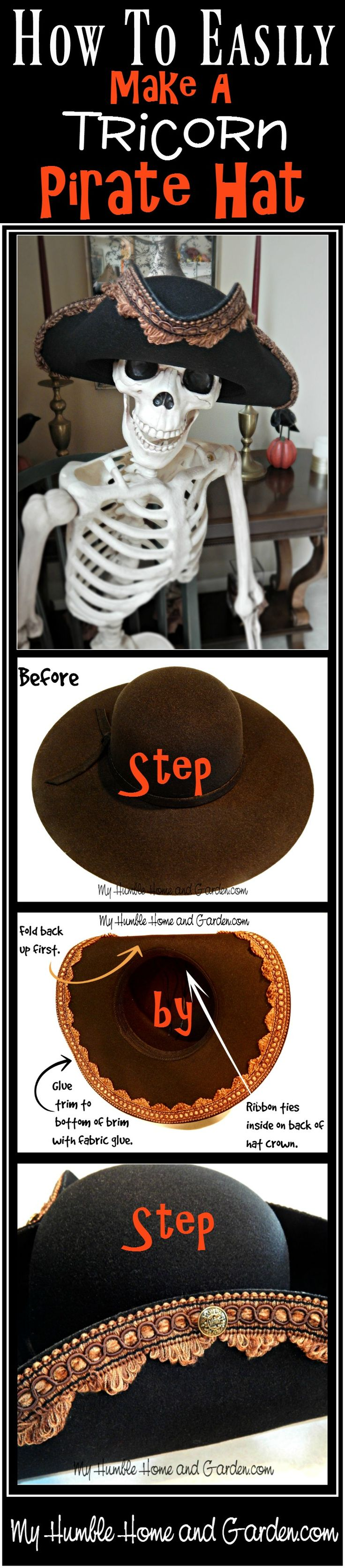 How To Easily Make A Tricorn Pirate Hat! on MyHumbleHomeandGarden.com