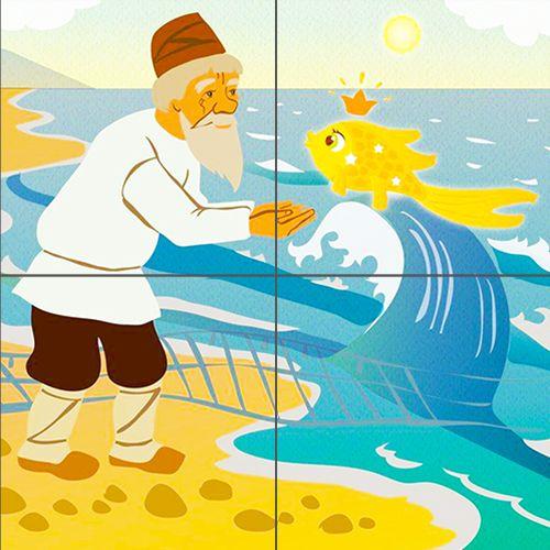детская иллюстрация к сказке о рыбаке и рыбке