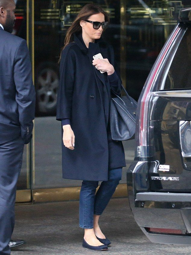 Melania stepped out of Trump Tower in New York looking remarkably different from her usual...