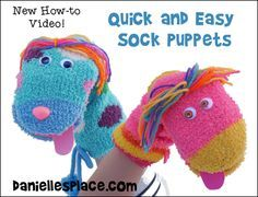 How to Make Sock Puppets - Quick and Easy Sock Puppet Video - Sock Puppets Children can Make from www.daniellesplace.com
