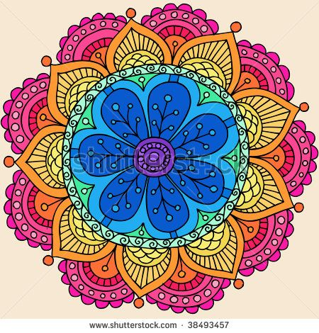 Groovy Psychedelic Rainbow Henna Mandala Flower Doodle Vector Illustration