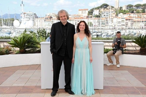 "US director Michael O'Shea (L) and US actress Chloe Levine smile on May 14, 2016 during a photocall for the film ""The Transfiguration"" at the 69th Cannes Film Festival in Cannes, southern France.  / AFP / Valery HACHE"