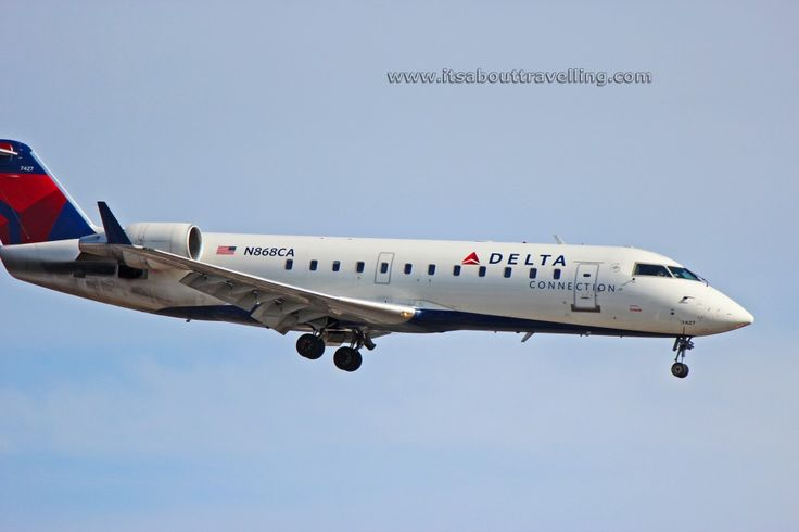 This Delta Connection CRJ-100 is landing at Toronto Pearson International Airport.