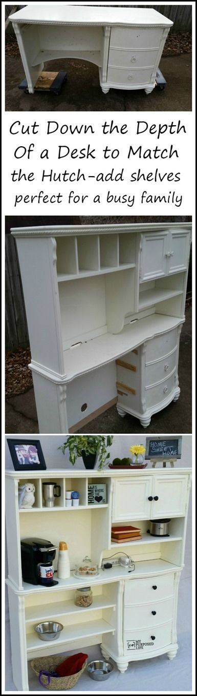 How to make a kitchen hutch buffet out of an old desk and hutch. By cutting down the depth of the desk, it is now sleek and functional. You can make this too.