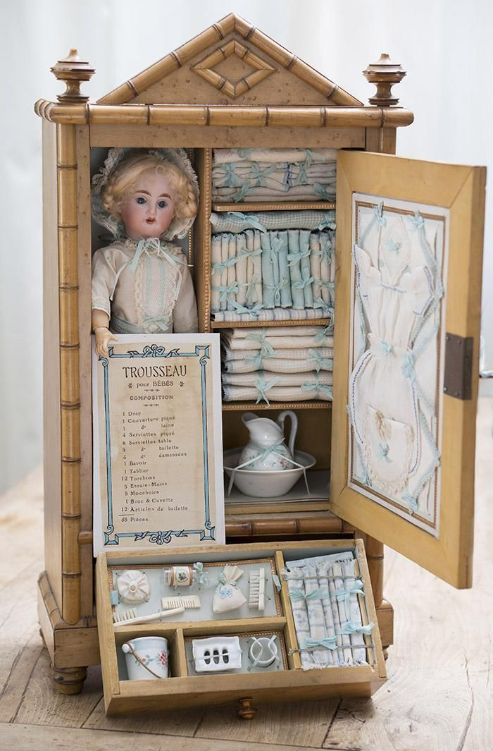 Antique French All Original Wooden Armoire with Doll and her Trousseau from respectfulbear on Ruby Lane