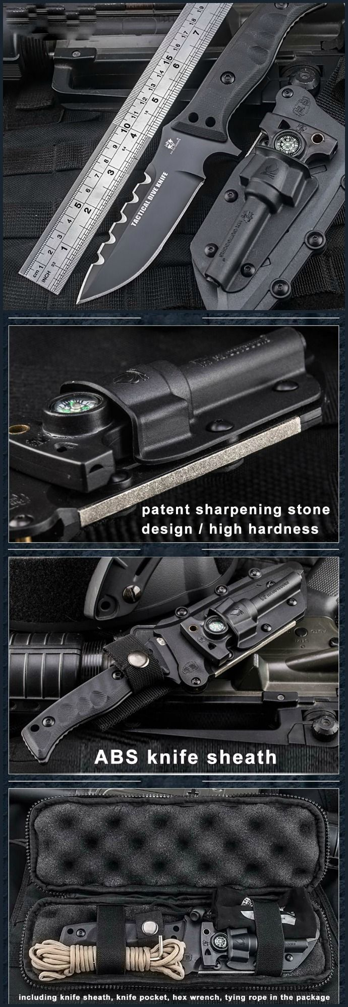 HX OUTDOORS D-141 Outdoor 58HRC Straight Knife