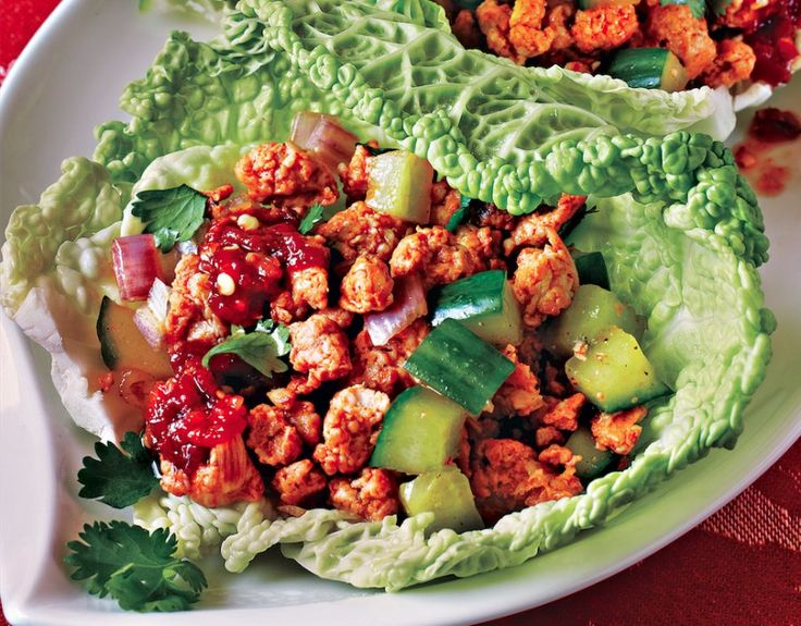 Healthy Thai At Home: Chicken Larb Recipe | Food Republic  Serving Size 185 g Amount Per Serving Calories 293Calories from Fat 128 % Daily Value* Total Fat 14.2g22% Saturated Fat 3.3g17% Trans Fat 0.0g Cholesterol 101mg34% Sodium 785mg33% Potassium 377mg11% Total Carbohydrates 5.3g2% Dietary Fiber 0.8g3% Sugars 1.0g Protein 33.5g Vitamin A 5%	•	Vitamin C 21% Calcium 3%	•	Iron 13% Nutrition Grade B- * Based on a 2000 calorie diet