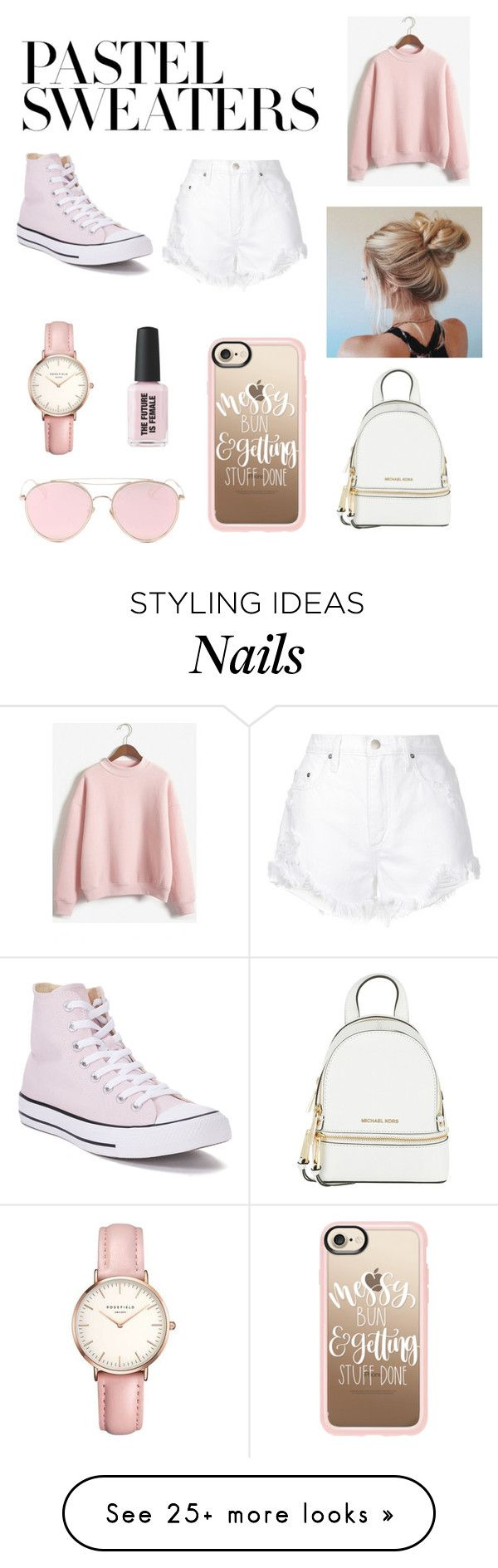 """Pastel"" by immibroadley14 on Polyvore featuring WithChic, Nobody Denim, Converse, Casetify, Topshop, LMNT, MICHAEL Michael Kors and pastelsweaters"