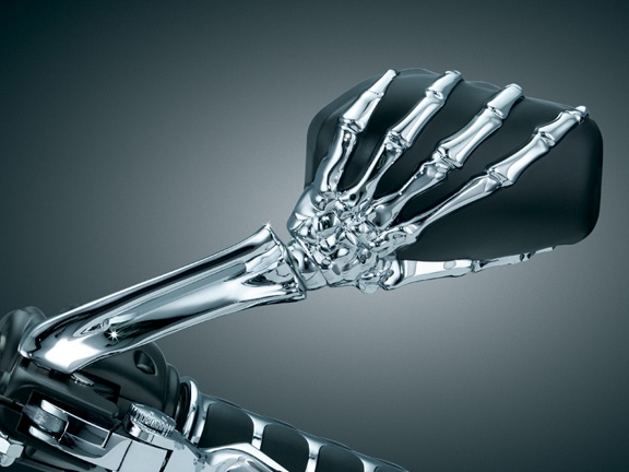 Suzuki Boulevard M50 Kuryakyn Chrome Skeleton Hand w/ Blk Head Mirrors