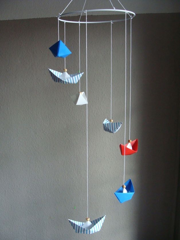 Traumfänger & Mobiles - Mobile Origami *Boote* Maritim - ein Designerstück von Casa-colorata bei DaWanda