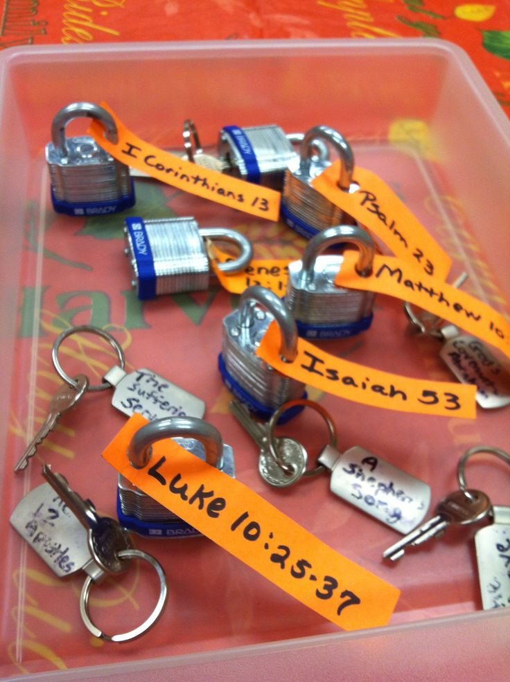 This might be good for the last day, Bible Activity?  Bible Drill Key Passage Locks and Keys. Lock has reference and key has title. Must use the correct key to unlock.  Submitted by Jenni Carter