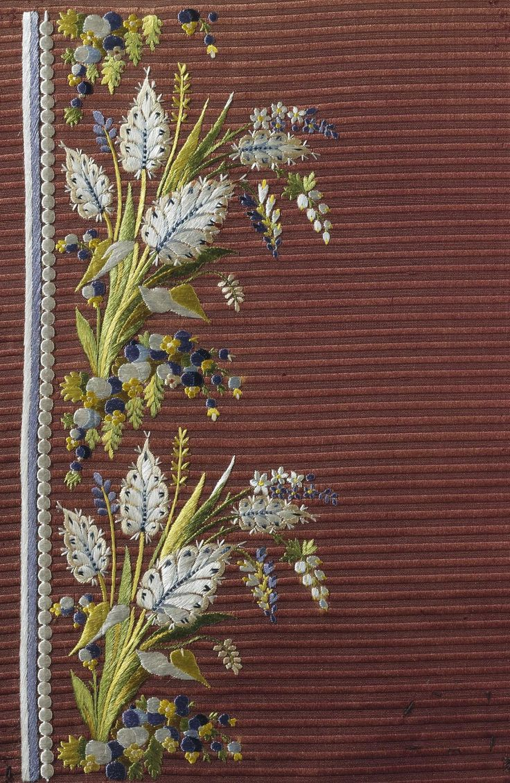 Title: Sampler for a Camisole Embroidery with a Bouquet of Flowers Motif Place of creation: France Date: 1780s Material: silk (ground) and silk threads Technique: embroidery in satin stitch technique Inventory Number: Т-3244