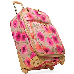 Lightweight Floral Suitcase  Flower Power  This lightweight suitcase features wheels that freely pivot 360 degrees, a retractable handle, zip pockets and a bouquet's worth of roses in bloom.  Originally $259