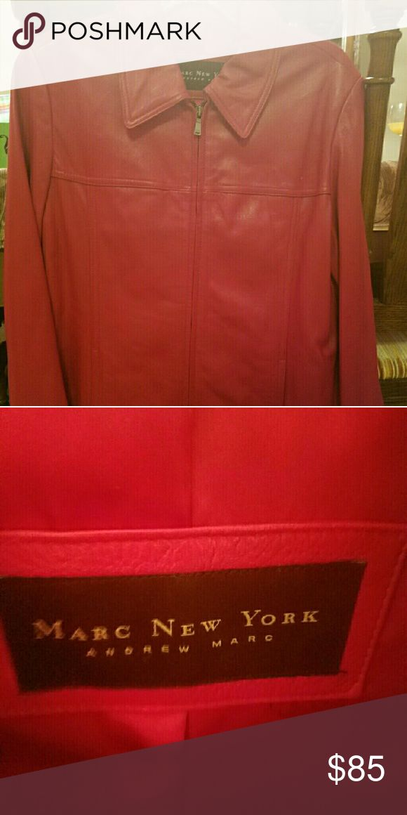 Red Leather Jacket Beautiful Red Leather Andrew Marc Jacket, worn once.... Maybe!  No signs of wear and tear. Andrew Marc Jackets & Coats